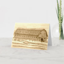 Old Barn with Rolled Hay Holiday Card