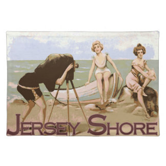 Old Beach Time Jersey Shore Cloth Placemat