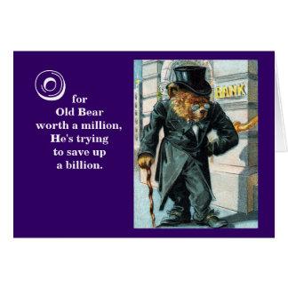 Old Bear by Bank - Letter O - Vintage Teddy Bear Card
