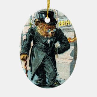 Old Bear by Bank - Letter O - Vintage Teddy Bear Ceramic Ornament