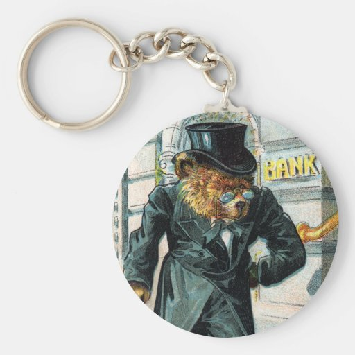 Old Bear by Bank - Letter O - Vintage Teddy Bear Basic Round Button Keychain