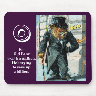 Old Bear by Bank - Letter O - Vintage Teddy Bear Mouse Pad
