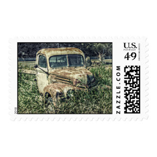 Old Beater Truck - Rusty Vintage Farm Vehicle Postage Stamp