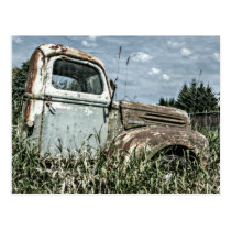 Old Beater Truck - Rusty Vintage Farm Vehicle Postcard