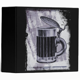 Old Beer Stein Illustration on Grunge Background Binder