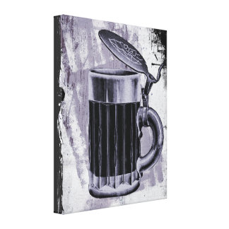 Old Beer Stein Illustration on Grunge Background Canvas Print