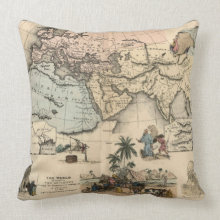 Old Biblical Map Throw Pillow throwpillow