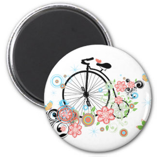 Old Bicycle and Floral Ornament 3 Magnet