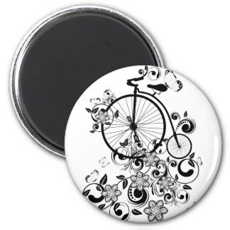Old Bicycle and Floral Ornament 4 Magnet