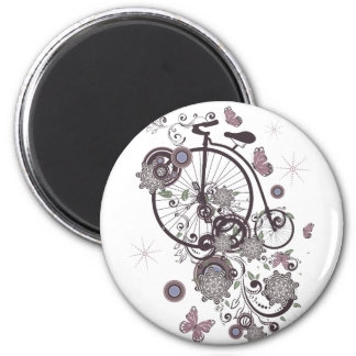 Old Bicycle and Floral Ornament 5 Magnet