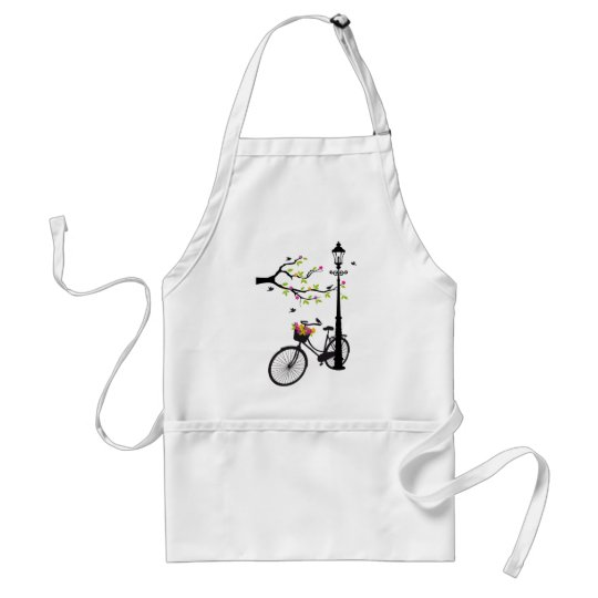Old bicycle with lamp, flower basket, birds, tree adult apron