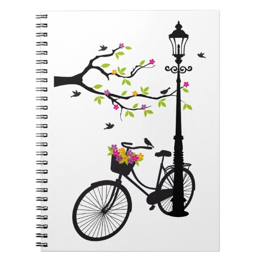 Old bicycle with lamp, flower basket, birds, tree notebook