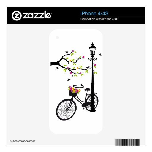 Old bicycle with lamp, flower basket, birds, tree skins for the iPhone 4S