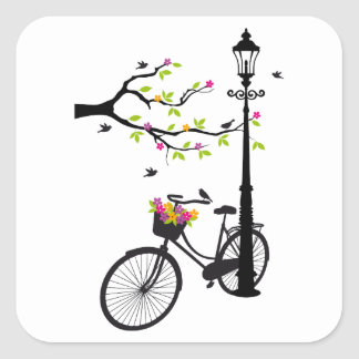 Old bicycle with lamp, flower basket, birds, tree square sticker