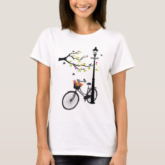 Old bicycle with lamp, flower basket, birds, tree T-Shirt