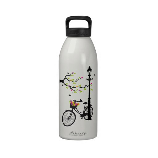 Old bicycle with lamp, flower basket, birds, tree reusable water bottle