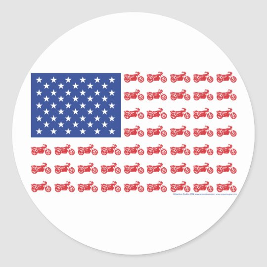 OLD-BIKE-FLAG-2-TEE CLASSIC ROUND STICKER
