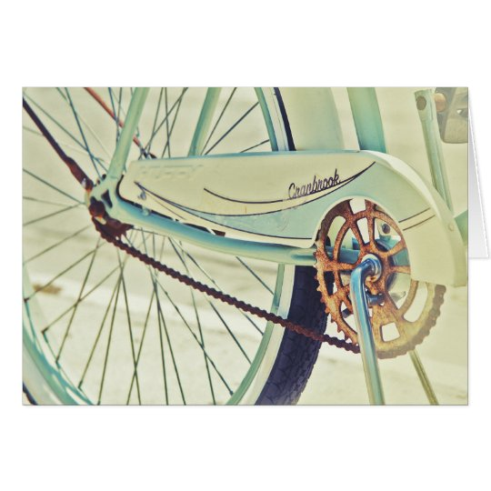 Old bike on sidewalk card