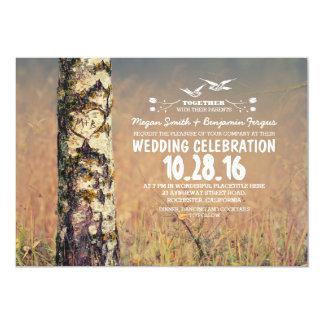 "Old birch tree & love heart rustic wedding invites 5"" x 7"" invitation card"