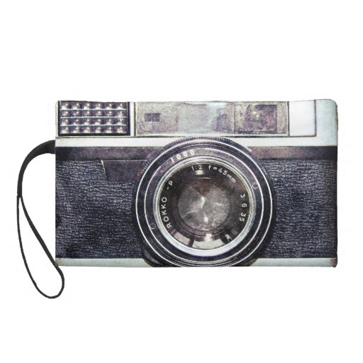 Old black camera wristlet clutches