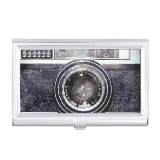 Old black camera business card case