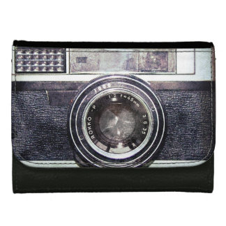Old black camera leather wallet for women