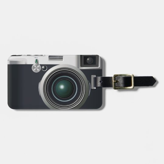 Old black camera luggage tag