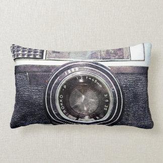 Old black camera lumbar pillow