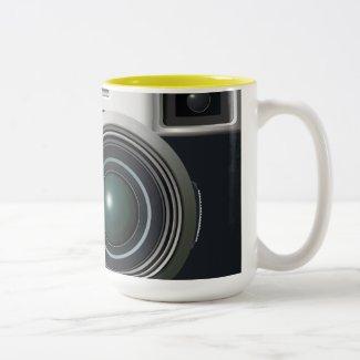 Old black camera mug