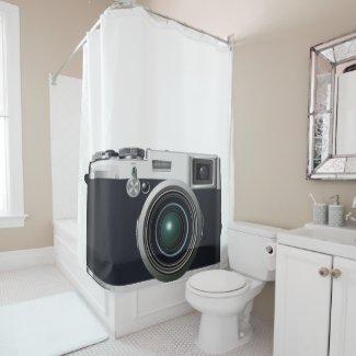 Old black camera shower curtain