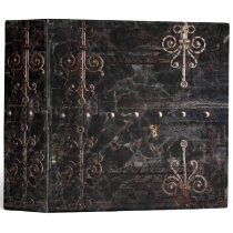 Old Black Faux Leather and Buckle Ancient Tome 3 Ring Binder