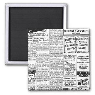 Old black & white newspaper, vintage retro advert 2 inch square magnet