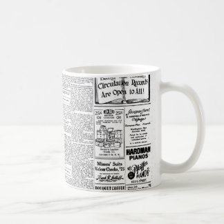 Old black & white newspaper, vintage retro advert coffee mug