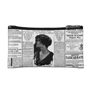 Old black & white newspaper, vintage retro advert cosmetic bag