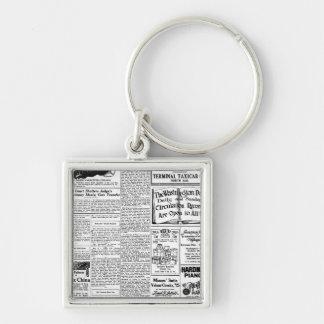 Old black & white newspaper, vintage retro advert keychain