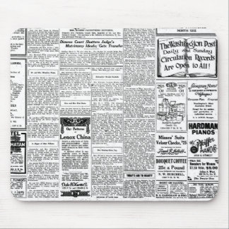 Old black & white newspaper, vintage retro advert mouse pad