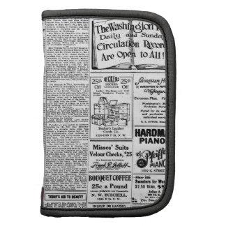 Old black & white newspaper, vintage retro advert planners