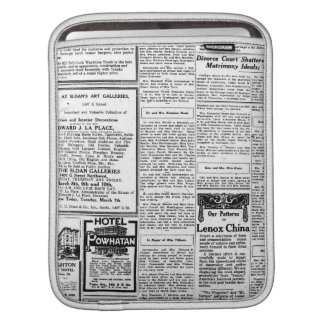 Old black & white newspaper, vintage retro advert sleeve for iPads