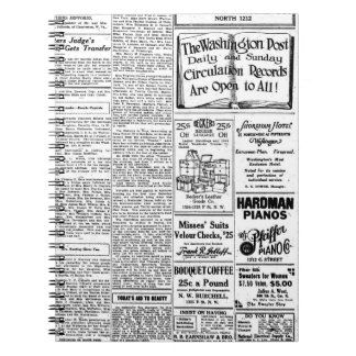 Old black & white newspaper, vintage retro advert spiral notebook