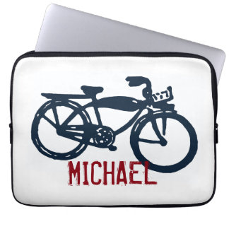 Old blue bike laptop sleeve