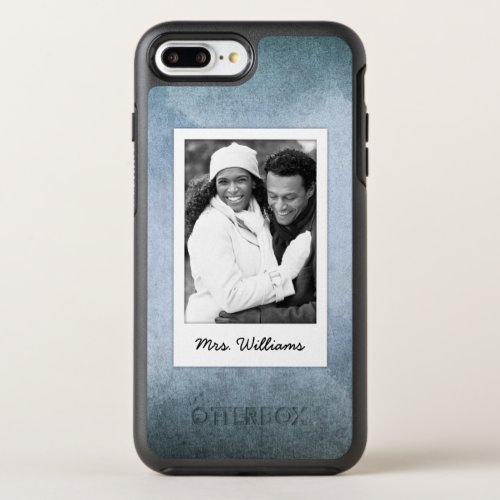 Old Blue & Black Watercolor Paper   Add Photo Phone Case