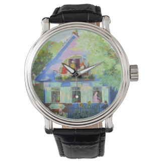 Old Blue Cottage Wrist Watch