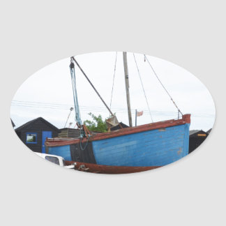 Old Blue Fishing Smack Oval Sticker