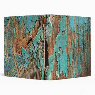 Old blue paint on wood 3 ring binder