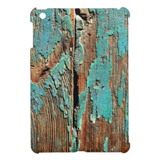 Old blue paint on wood cover for the iPad mini