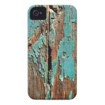 Old blue paint on wood iPhone 4 case