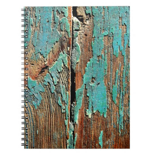Old blue paint on wood note book