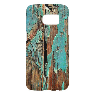 Old blue paint on wood samsung galaxy s7 case