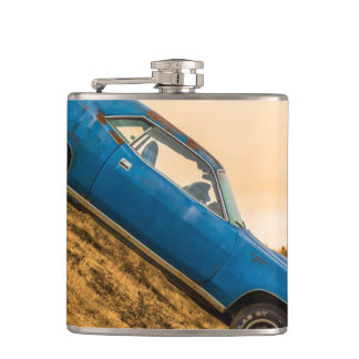 Old Blue Plymouth Barracuda Flask