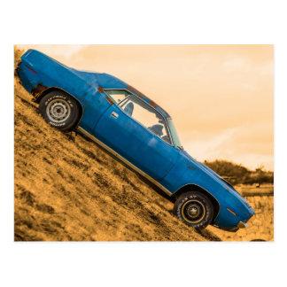 Old Blue Plymouth Barracuda Postcard